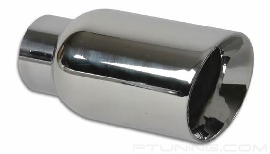 """Picture of 4"""" Round Beveled Edge Angle Cut Exhaust Tip (2.25"""" Inlet, 4"""" Outlet, 7.75"""" Length, 304 SS)"""