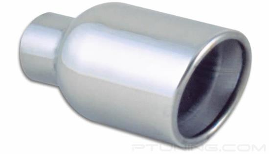 """Picture of 4"""" Round Rolled Edge Angle Cut Exhaust Tip (2.25"""" Inlet, 4"""" Outlet, 7.75"""" Length, 304 SS)"""