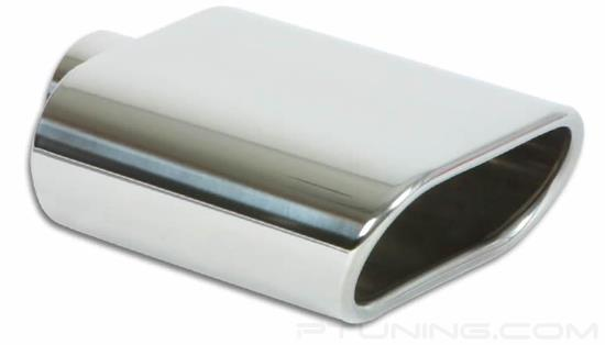 """Picture of Oval Angle Cut Single-Wall Polished Exhaust Tip (2.25"""" Inlet, 7.75"""" Length, 304 SS)"""