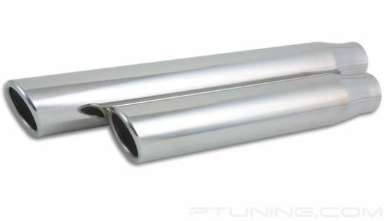 "Picture of 3"" Truck/SUV Round Rolled Edge Angle Cut Single-Wall Exhaust Tip (2.5"" Inlet, 3"" Outlet, 11"" Length, 304 SS)"