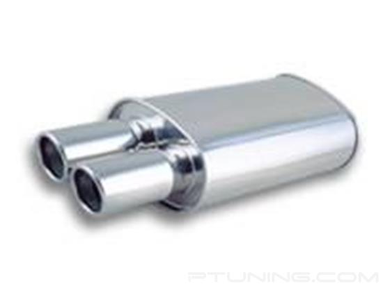 "Picture of Streetpower Oval Exhaust Muffler with Dual Round Angle Cut Rolled Edge Tips (3"" Center Inlet, 3.5"" Dual Tips, 23"" Length, 304 SS, Polished)"