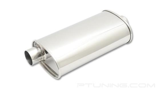 "Picture of Streetpower Oval Exhaust Muffler (2.25"" Offset Inlet, 2.25"" Center Outlet, 20"" Length, 304 SS, Polished)"