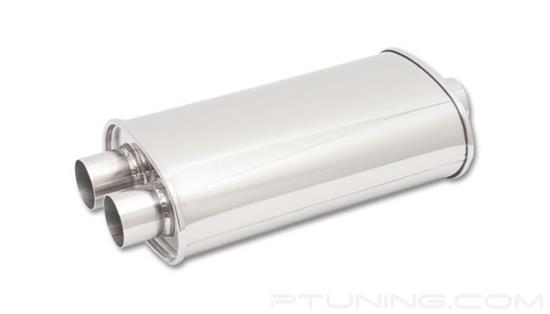 """Picture of Streetpower Oval Exhaust Muffler (3"""" Center Inlet, 2.5"""" Dual Outlet, 20"""" Length, 304 SS, Polished)"""