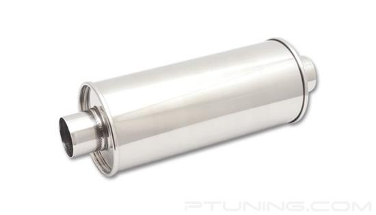"Picture of Streetpower Round Exhaust Muffler (2.5"" Center Inlet/Outlet, 19"" Length, 304 SS, Polished)"