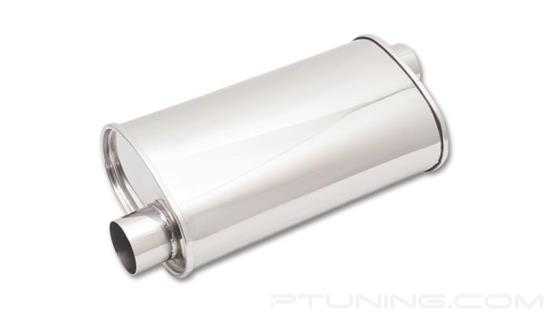 """Picture of Streetpower Oval Exhaust Muffler (2.5"""" Offset Inlet, 2.5"""" Offset Outlet, 20"""" Length, 304 SS, Polished)"""