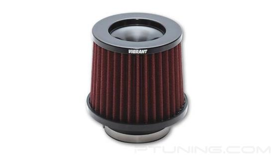"Picture of The Classic Performance Cone Red Air Filter with Black Cap (5.25"" OD Cone, 5"" Tall, 3.5"" ID Inlet)"