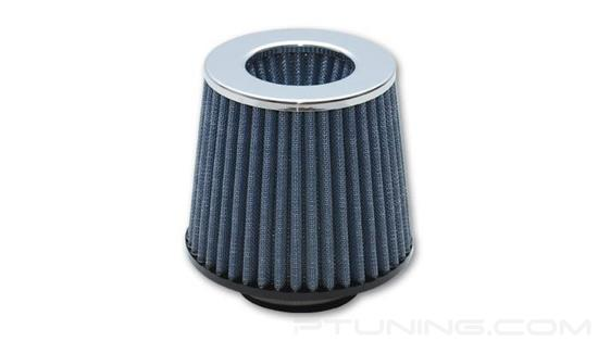 "Picture of Open Funnel Performance Cone Blue Air Filter with Chrome Cap(5"" OD Cone, 5"" Tall, 2.75"" ID Inlet)"