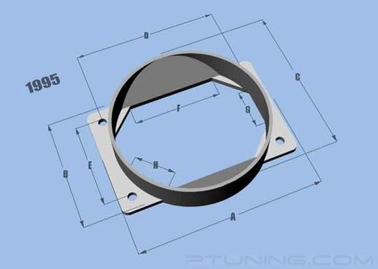 """Picture of Mass Air Flow Sensor Adapter Plate with 4.5"""" ID Filter Inlet for Mitsubishi, Aluminum"""