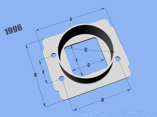 """Picture of Mass Air Flow Sensor Adapter Plate with 3"""" ID Filter Inlet for Toyota/Bosch MAF, Aluminum"""