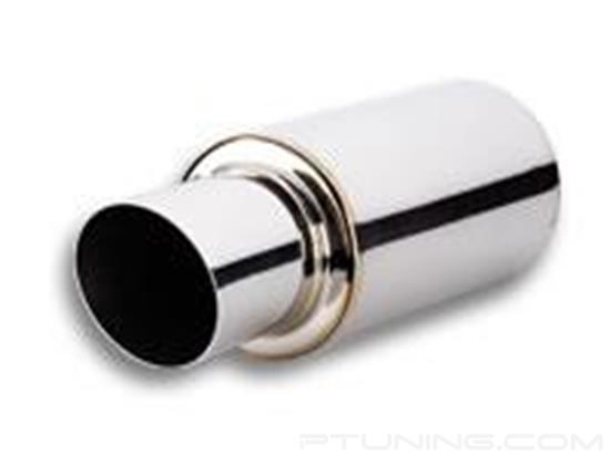 "Picture of TPV Round Exhaust Muffler with Round Angle Cut Tip (3"" Inlet, 4"" Tip, 17"" Length, 304 SS, Polished)"