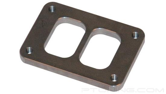 """Picture of T04 Turbine Divided Inlet Flange with Tapped Holes, 50.60mm x 76.07mm Inlet, 1/2"""" Thick, Mild Steel"""