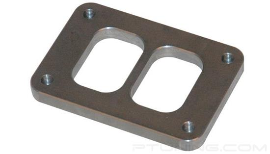 """Picture of T06 Turbine Divided Inlet Flange with Tapped Holes, 58.85mm x 87.47mm Inlet, 1/2"""" Thick, 304 SS"""