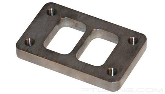 "Picture of T3 Turbine Divided Inlet Flange with Tapped Holes, 44.50mm x 62.58mm Inlet, 1/2"" Thick, Mild Steel"
