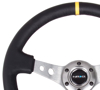 "Picture of Deep Dish Reinforced Steering Wheel (350mm / 3"" Deep) - Black Leather with Gunmetal Cutout Spoke, Yellow CM"