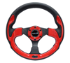 Picture of Pilota Series Reinforced Steering Wheel (320mm) - Black with Red Trim, 5mm 3-Spoke