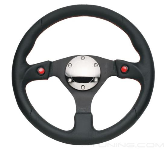 Picture of Two Button Series Reinforced Steering Wheel (320mm) - Black Leather with Dual Buttons
