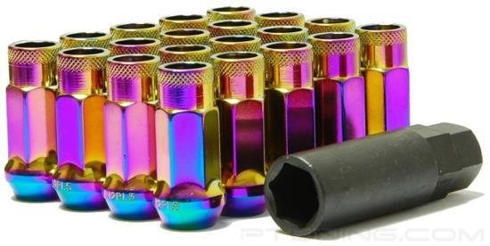 Picture of Muteki SR48 Open End Lug Nuts - Neon Chrome (Cone Seat, 48mm, M12x1.25,  Set of 20)