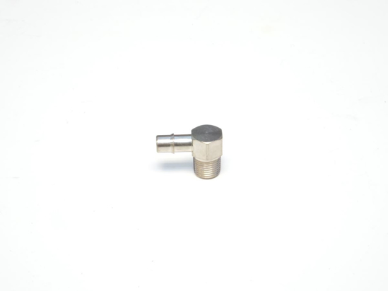"Picture of 1/8"" NPT Male x 1/4"" Single Barb, 90 Degree Compact Hose Fitting - Nickel Plated Brass"
