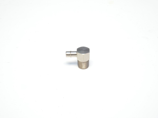 "Picture of 1/8"" NPT Male x 3/16"" Single Barb, 90 Degree Compact Hose Fitting - Nickel Plated Brass"
