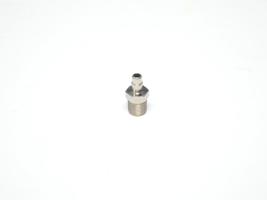"""Picture of 1/8"""" NPT Male x 3/16"""" Single Barb, Straight Compact Hose Fitting - Nickel Plated Brass"""
